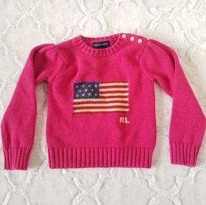 Ralph Lauren Flag Knitted Sweater Girls Size 3/3T